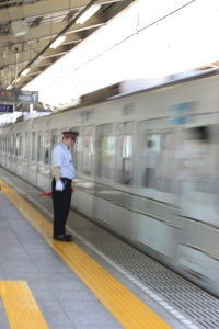 Train leaving the Minami-senju station