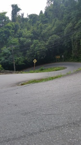 Double hairpin turn on a steep hill