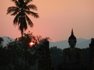 Buddha at Wat Mahathat at Sunset